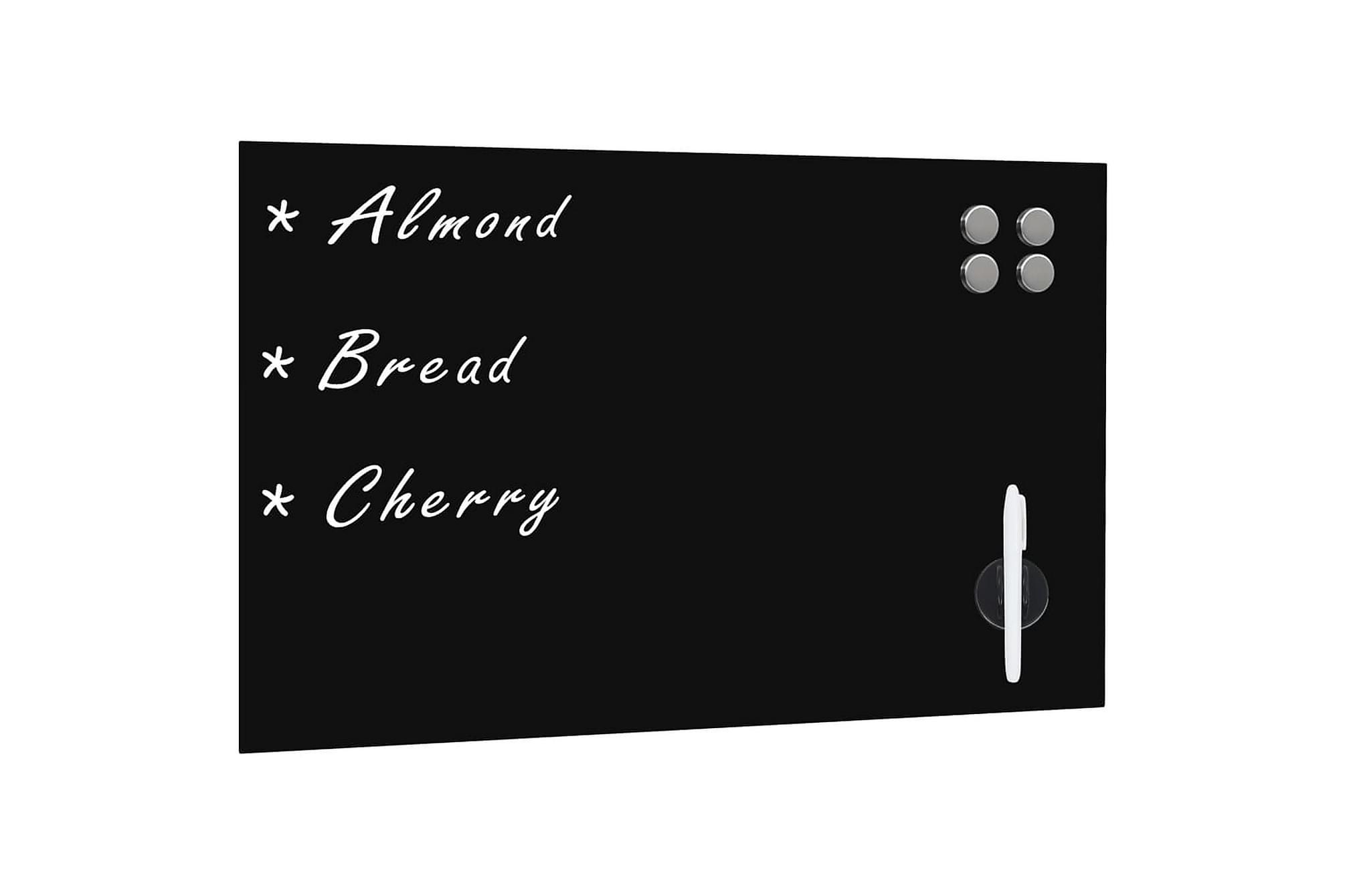 Svarta tavlan magnetisk väggmonterad glas 60x40 cm, Whiteboards & griffeltavlor