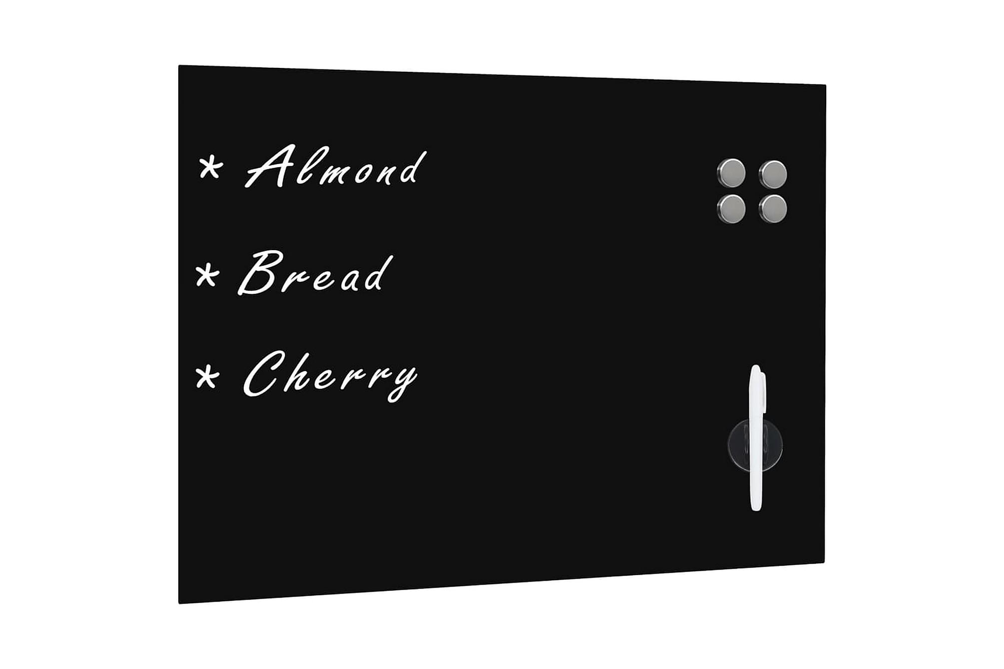 Svarta tavlan magnetisk väggmonterad glas 80x60 cm, Whiteboards & griffeltavlor