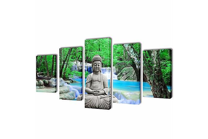 Uppsättning väggbonader på duk: Buddha 100 x 50 cm - Flerfärgad - Möbler & Inredning - Inredning - Posters & tavlor