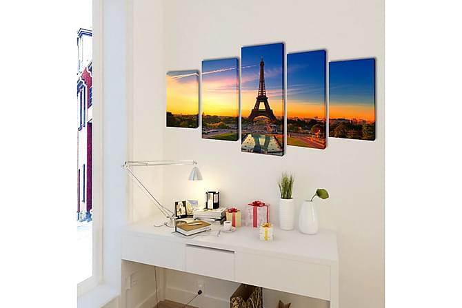 Uppsättning väggbonader på duk: Eiffeltornet 200 x 100 cm - Flerfärgad - Möbler & Inredning - Inredning - Posters & tavlor