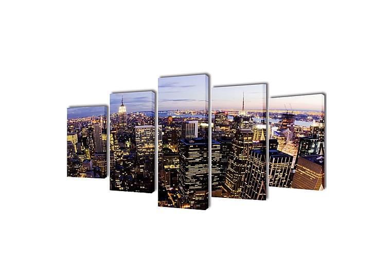 Uppsättning väggbonader på duk: New Yorks horisont 200x100cm - Flerfärgad - Möbler & Inredning - Inredning - Posters & tavlor