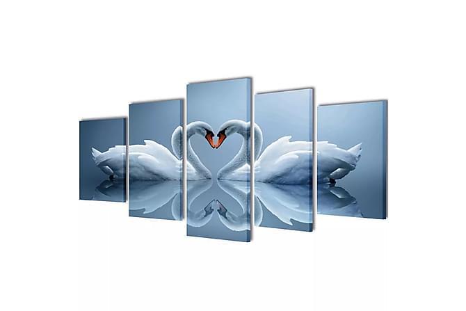 Uppsättning väggbonader på duk: svan 200 x 100 cm - Flerfärgad - Möbler & Inredning - Inredning - Posters & tavlor