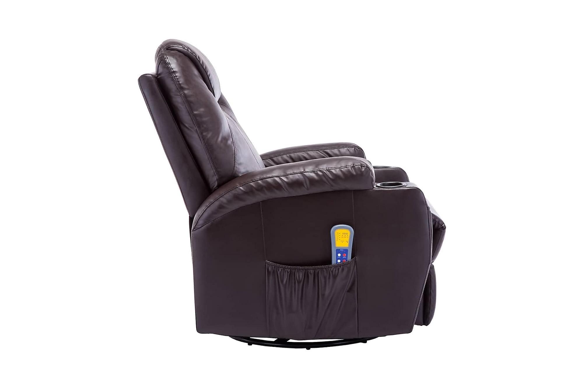 Gungande massagefåtölj justerbar brun konstläder, Massagestolar & massagefåtöljer