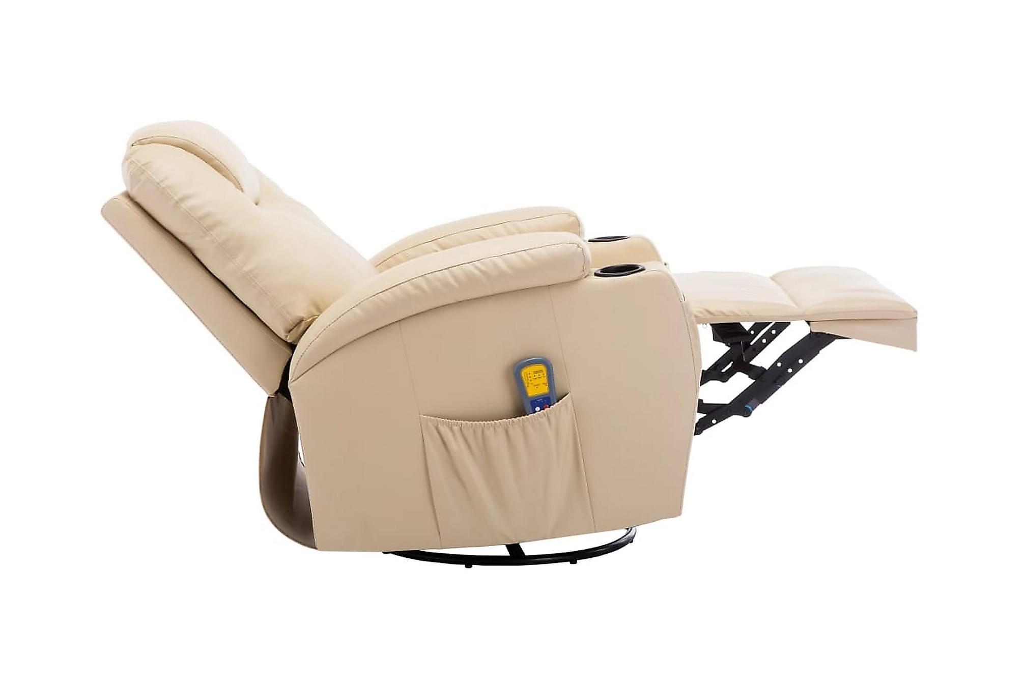 Gungande massagefåtölj justerbar gräddvit konstläder, Massagestolar & massagefåtöljer