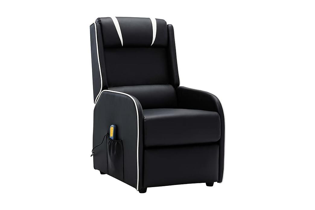 Massagefåtölj svart och vit konstläder - Svart - Möbler & Inredning - Fåtöljer & fotpallar - Skinnfåtölj