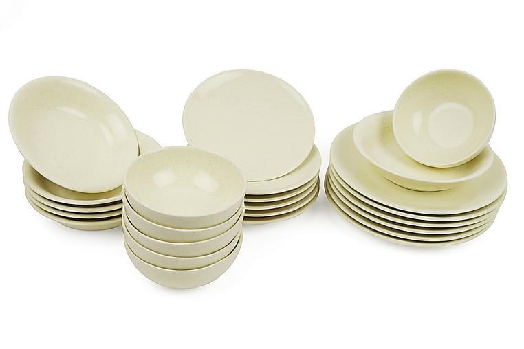 Kütahya Middagsservis 24 Delar Porslin Gul - Möbler & Inredning - Inredning - Husgeråd & kökstillbehör