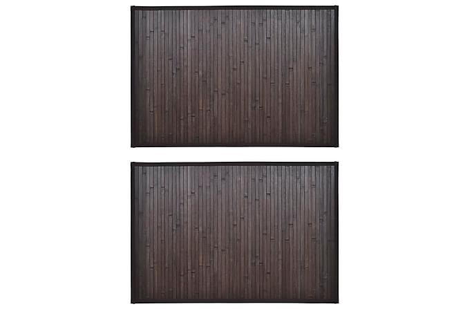 Bambumattor 2 st 60x90 cm mörkbrun - Brun - Möbler & Inredning - Mattor - Badrumsmattor