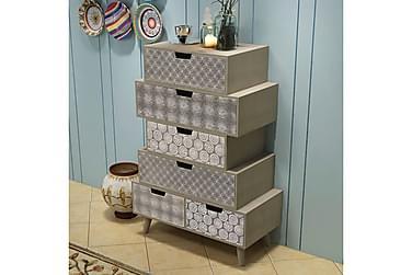 Sidoskåp med 6 lådor grå