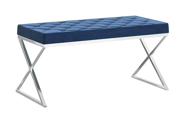 Bänk 97 cm blå sammet och rostfritt stål - Blå - Möbler & Inredning - Stolar - Sittbänk
