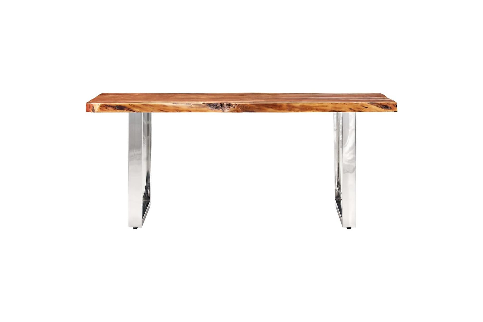 Bord med levande kanter massivt akaciaträ 200 cm 6 cm, Matbord
