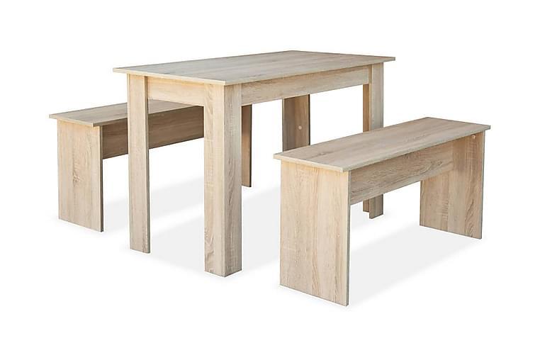 Matbord och bänkar 3 delar spånskiva ek - Brun - Möbler & Inredning - Bord - Matbord