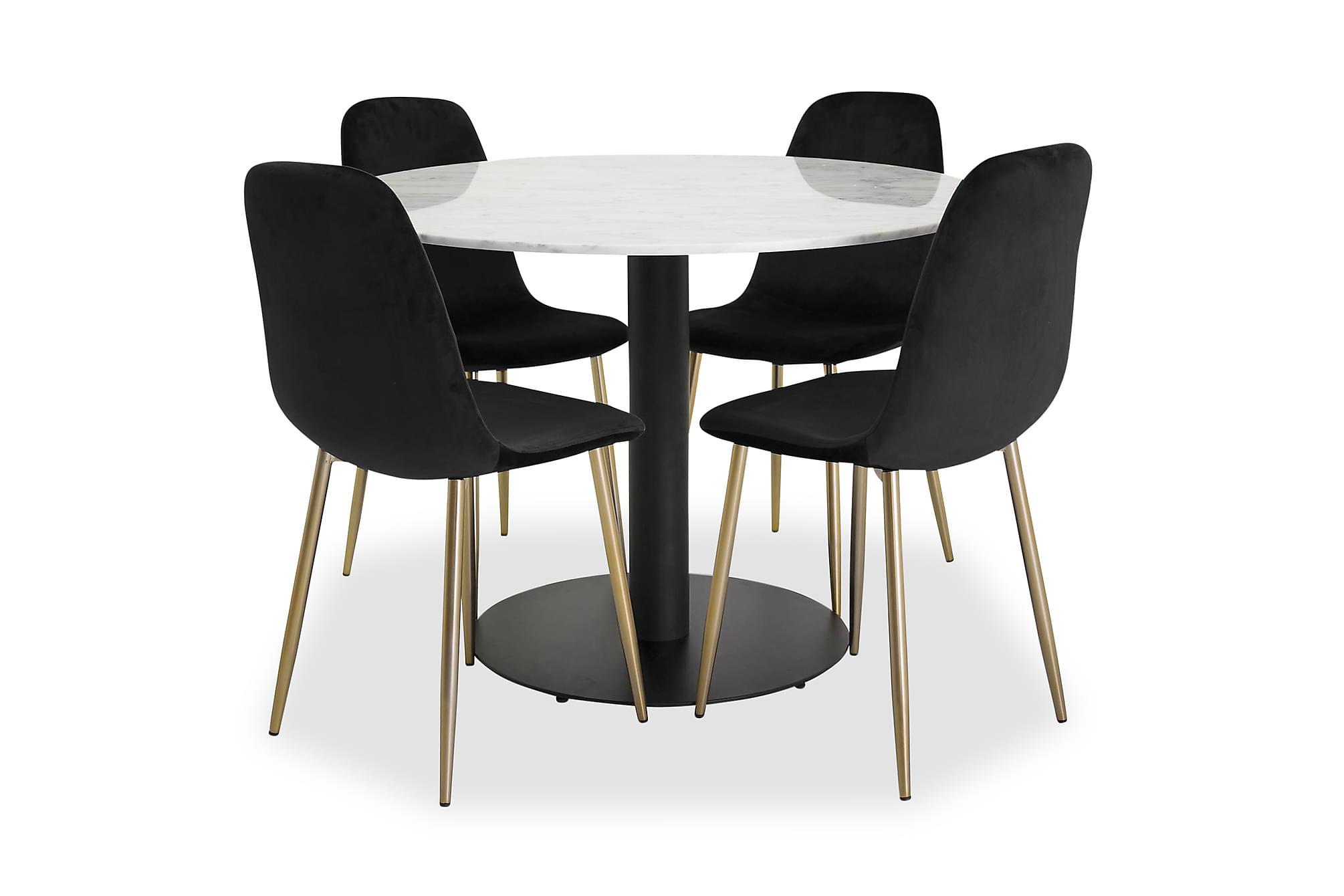 ADMIRA matbord runt vit/svart+Pontus stol svart/mässing 4st, Matgrupper