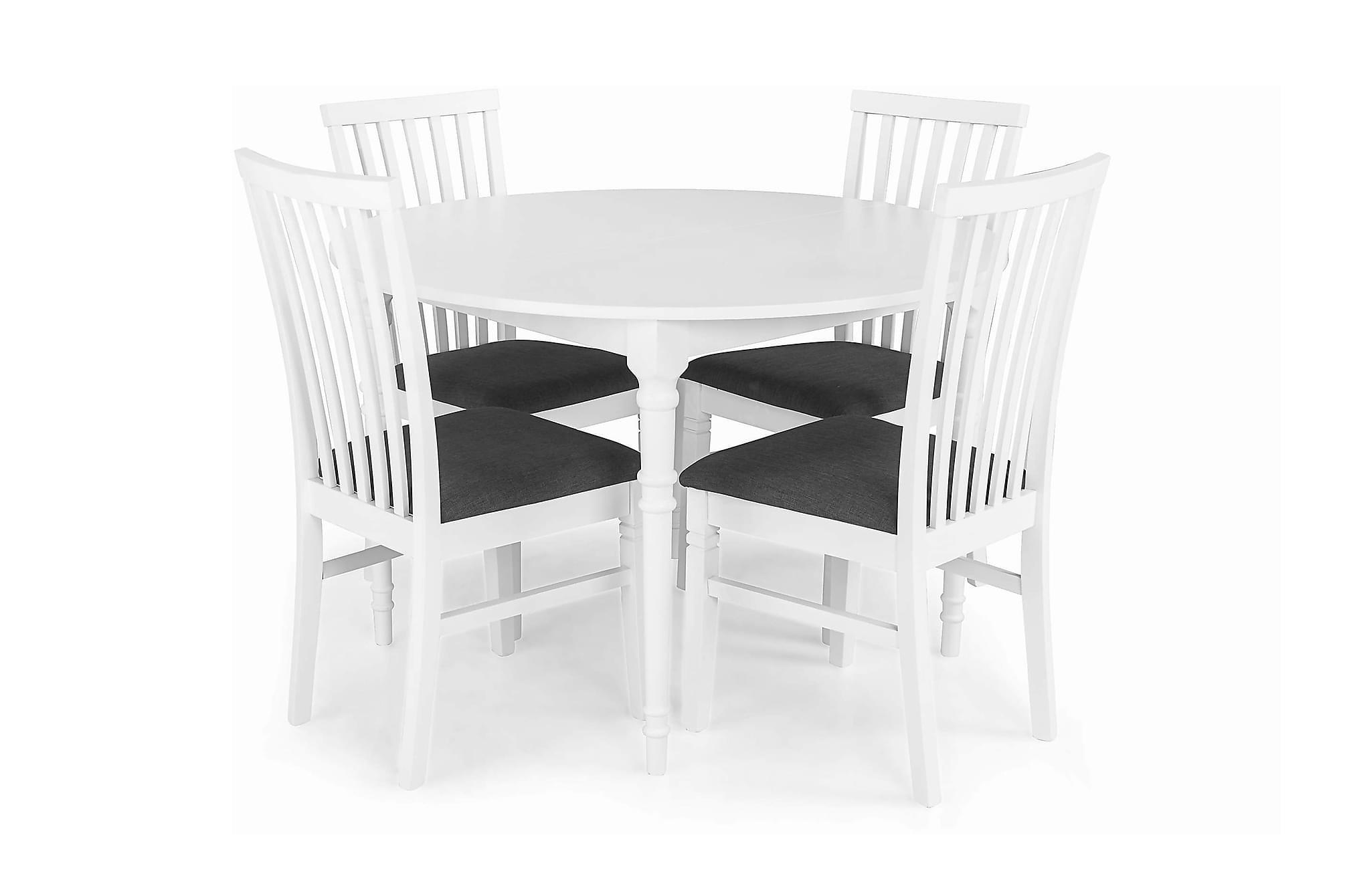 ALINE Förlängningsbar Matbord Runt + 4 LEVIDE Stol Vit, Matgrupper
