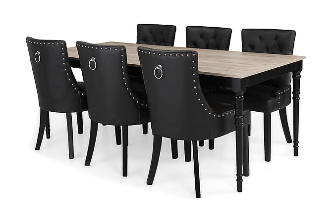 ALINE Matbord 200 Grå/Svart + 6 CARMINE Fåtölj Svart - Möbler & Inredning - Bord - Matgrupper