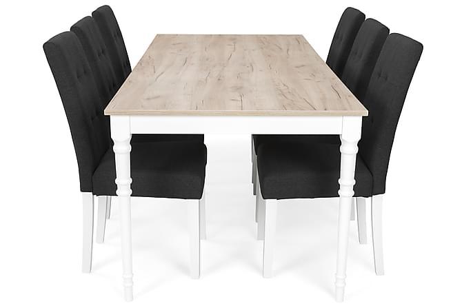 ALINE Matbord 200 Grå/Vit + 6 STILO Stol Svart - Möbler & Inredning - Bord - Matgrupper