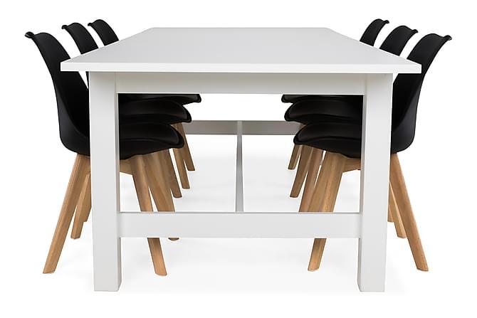 ALLE Matbord 240 Vit + 6 SANNA Stol Svart/Ek - Möbler & Inredning - Bord - Matgrupper