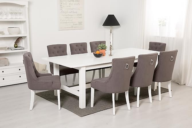 ALLIE Matbord 240+60 Vit + 8 COLFAX Fåtölj Grå - Möbler & Inredning - Bord - Matgrupper
