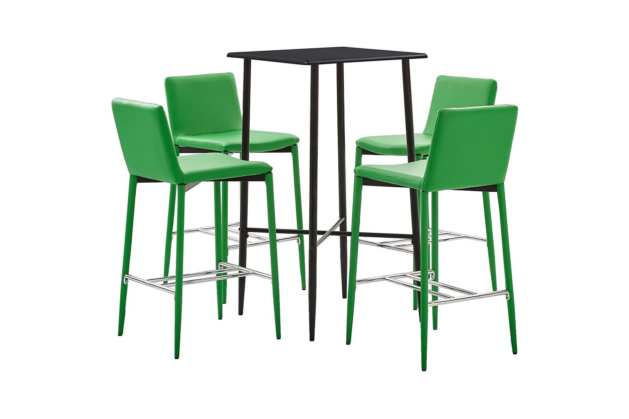 Bargrupp 5 delar konstläder grön