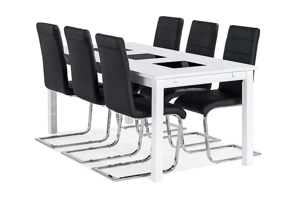 BARROW Förlängningsbart Bord 180 Vit + 6 CIBUS Stol Svart PU - Möbler & Inredning - Bord - Matgrupper