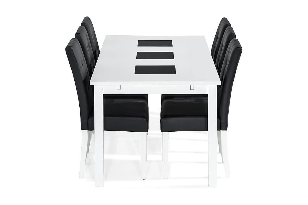 BARROW Förlängningsbart Matbord 180 Vit + 6 VIKTOR Stol PU - Möbler & Inredning - Bord - Matgrupper