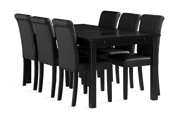BARROW Matbord 180 cm Svart + 6 ULLARP Stolar Konstläder - Möbler & Inredning - Bord - Matgrupper