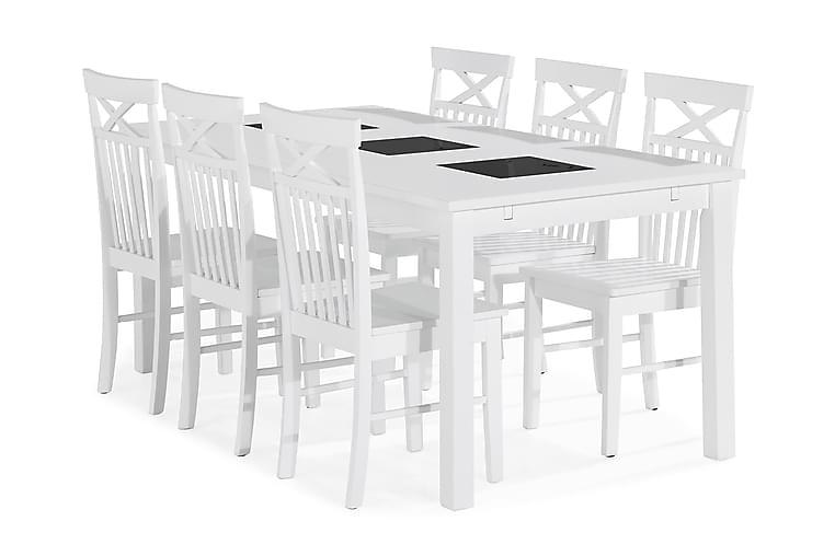 BARROW Matbord 180 Vit + 6 MELROSE Stol Vit - Möbler & Inredning - Bord - Matgrupper