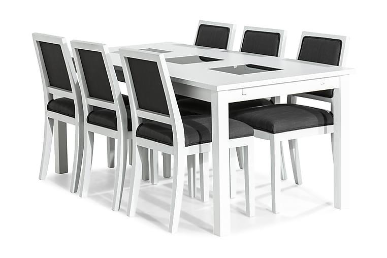 BARROW Matgrupp 180 + 6 MOTEI Stol Vit/Grå - Möbler & Inredning - Bord - Matgrupper