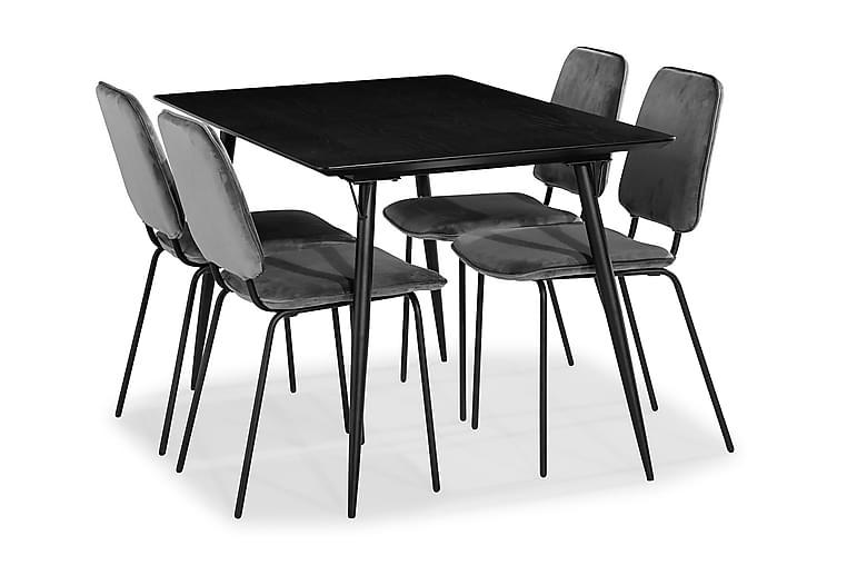 BARRY Matgrupp + 4 DOINA Matstol Sammet Svart - Möbler & Inredning - Bord - Matgrupper