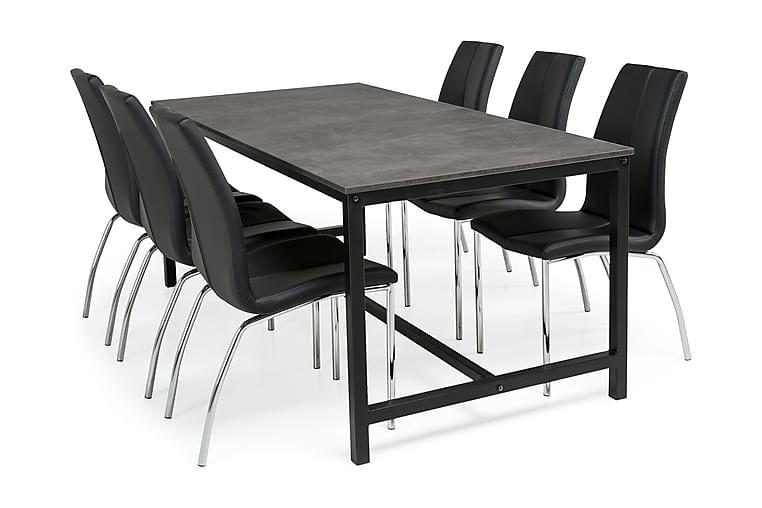 BECKY Matbord 180 + 6 KROKOM Stol Svart PU - Möbler & Inredning - Bord - Matgrupper