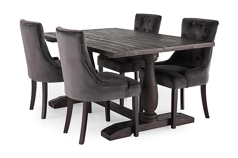 BORIS Bord 160 + 4 COLFAX Fåtölj Grå - Möbler & Inredning - Bord - Matgrupper