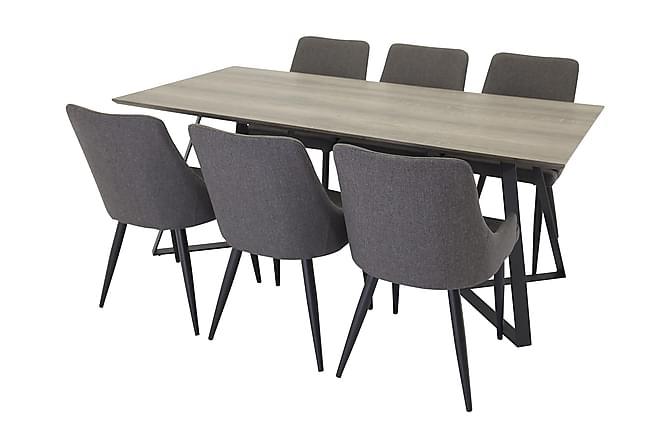 EDMUND Matbord Grå/Svart + 6 PEDER Stol Ljusgrå/Ek - Möbler & Inredning - Bord - Matgrupper