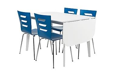 ELLINORE Matbord Vit + 4 MELISSA Stol Blå
