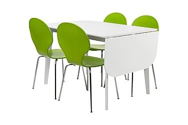 ELLINORE Matbord Vit + 4 NINA Stol Grön
