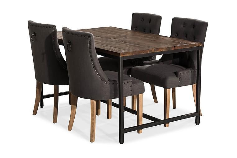 EPOQUE Matbord 140 Alm/Svart + 4 COLFAX Fåtölj Grå/Trä - Möbler & Inredning - Bord - Matgrupper