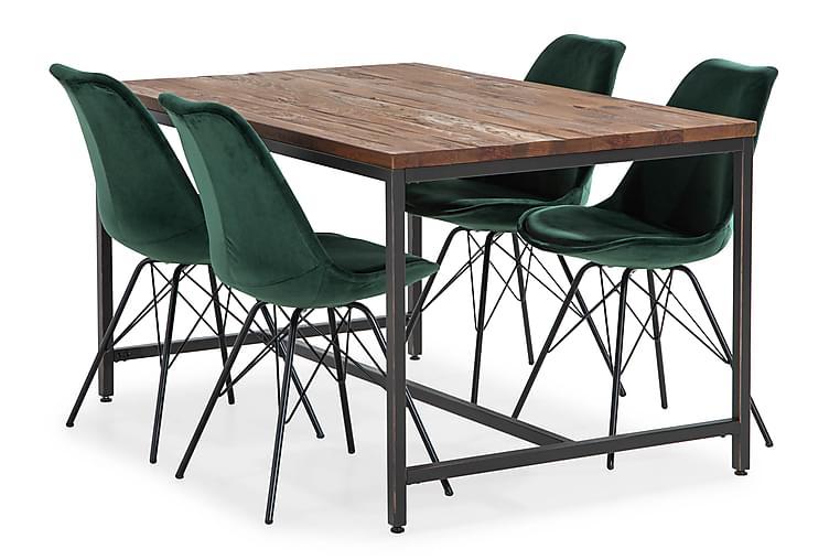 EPOQUE Matbord 140 Brun + 4 ZENIT Stol Sammet Grön - Möbler - Matplats - Matgrupp & köksgrupp