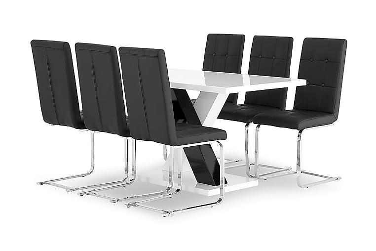 ESSUNGA Matbord 140 Vit + 6 SENTA Stol Svart Konstläder/Krom - Möbler & Inredning - Bord - Matgrupper