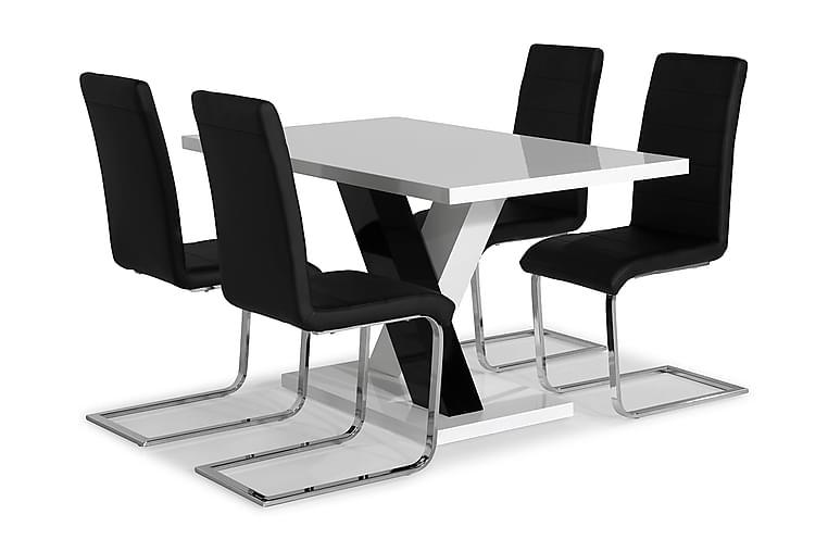 ESSUNGA Matord Vit/Svart + 4 SALA Stol Svart PU/Krom - Möbler & Inredning - Bord - Matgrupper