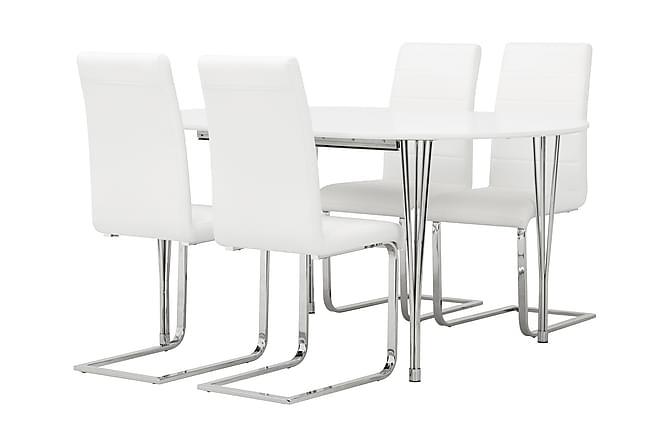 GEORGE Matbord 160 Ovalt Vit + 4 SORADO Stol Vit - Inomhus - Bord - Matgrupper