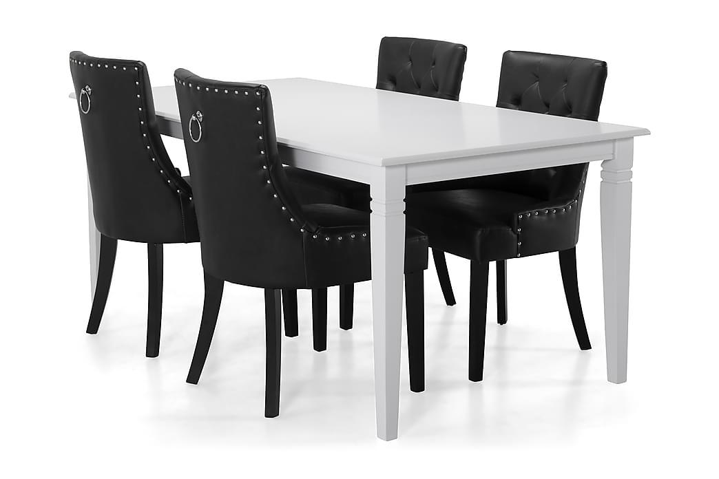 HAILEY Bord + 4 CARMINE Stol Vit/Svart - Möbler & Inredning - Bord - Matgrupper