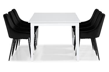 HAILEY Förlängningsbart Matbord 180 Vit + 6 VIKEN Stol Svart