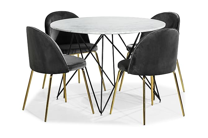 KEN Matbord 110 Marmor + 4 SANDRO Stol Sammet Grå/Mässing - Möbler & Inredning - Bord - Matgrupper