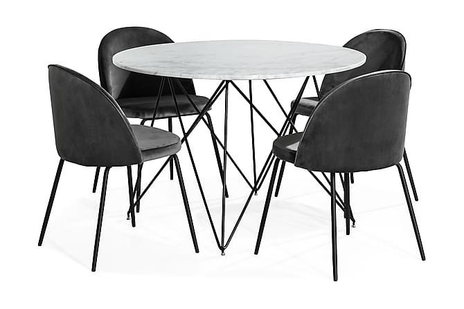 KEN Matbord 110 Marmor + 4 SANDRO Stol Sammet Grå/Svart - Möbler & Inredning - Bord - Matgrupper