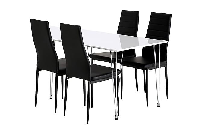 KRONOBERG Matbord 120 Vit + 4 TEKLA Stol Konstläder Svart - Möbler & Inredning - Bord - Matgrupper