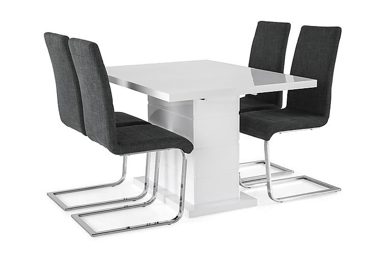 KULMBACH Bord Förlängningsbar 120 + 4 SALA Stol Vit/Svart - Möbler & Inredning - Bord - Matgrupper