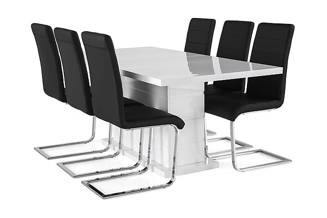 KULMBACH Bord Förlängningsbar 180 + 6 SALA Stol Vit/Svart - Möbler & Inredning - Bord - Matgrupper