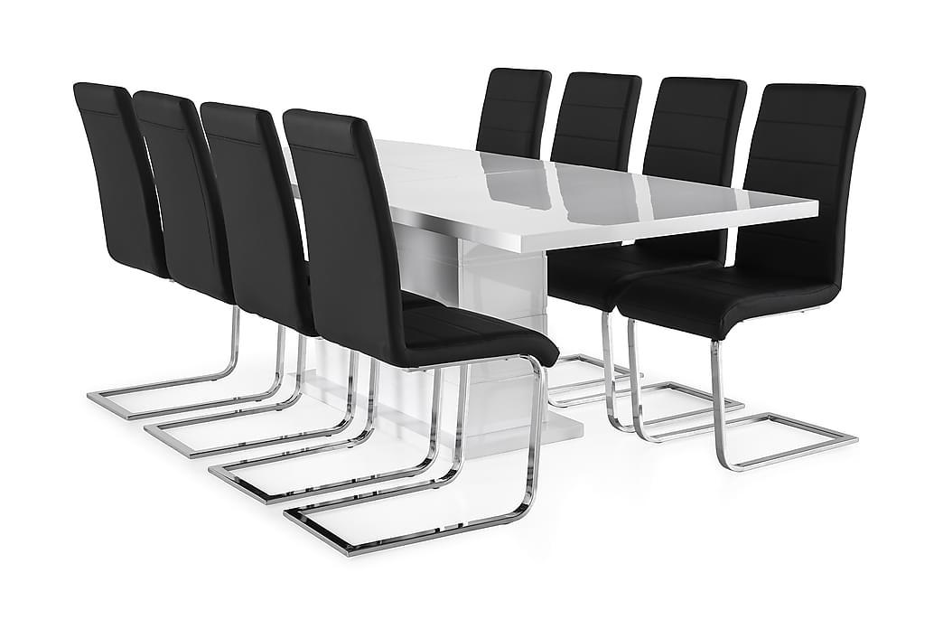 KULMBACH Bord Förlängningsbar 200 + 8 SALA Stol Vit/Svart - Möbler & Inredning - Bord - Matgrupper