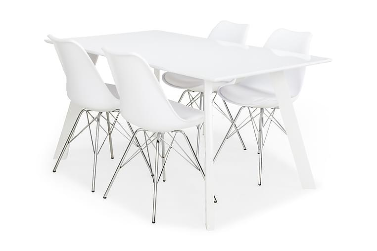 LADY Bord Vit/Vit + 4 ZENIT Stolar Vit/Krom - Möbler & Inredning - Bord - Matgrupper