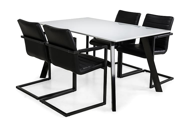 LADY Matbord 150 Vit + 4 HENRY Stol Vit/Svart - Möbler & Inredning - Bord - Matgrupper