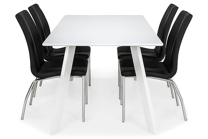 LADY Matbord 150 Vit + 4 KROKOM Stol Svart - Inomhus - Bord - Matgrupper