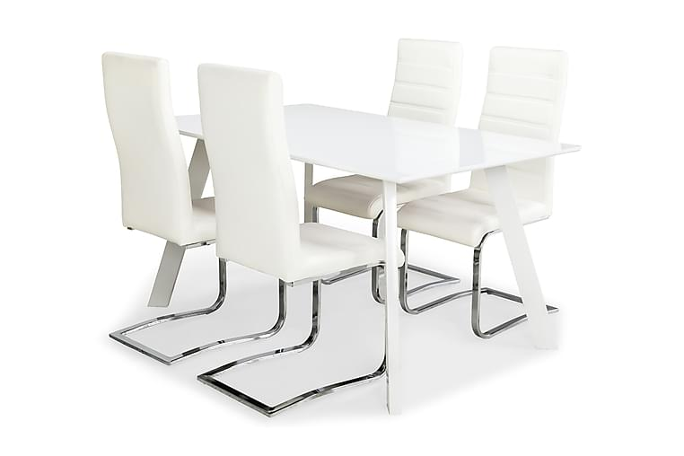 LADY Matbord 150 Vit + 4 SALA Stol Offwhite - Möbler & Inredning - Bord - Matgrupper